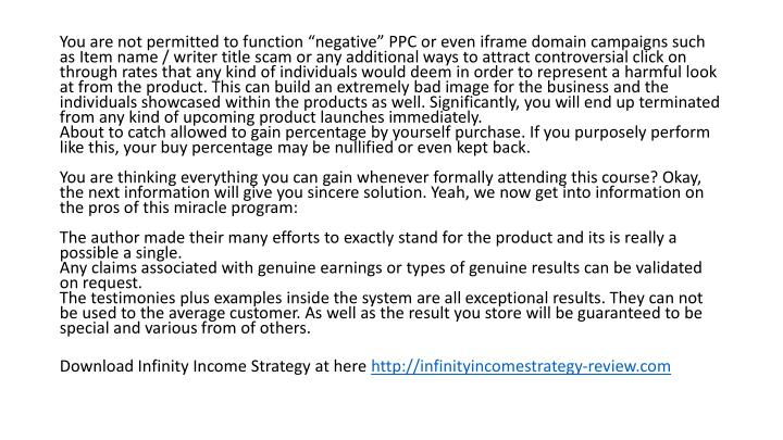 "You are not permitted to function ""negative"" PPC or even"