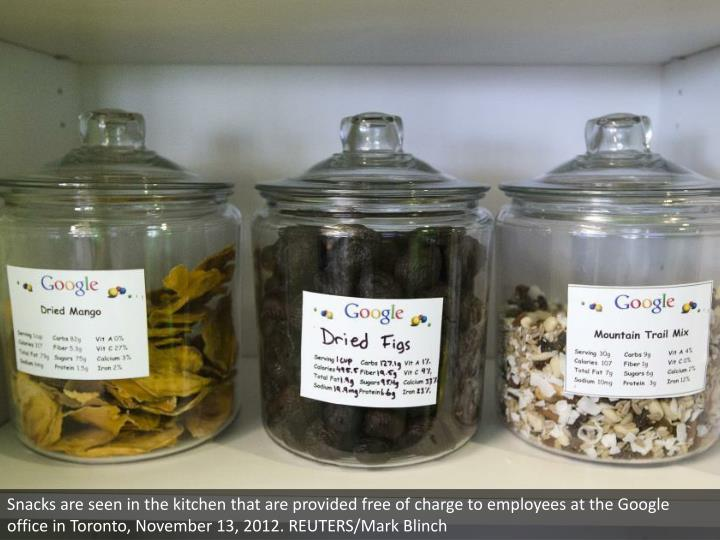 Snacks are seen in the kitchen that are provided free of charge to employees at the Google office in Toronto, November 13, 2012. REUTERS/Mark Blinch