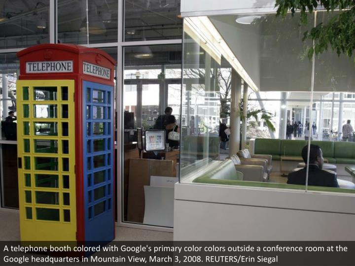 A telephone booth colored with Google's primary color colors outside a conference room at the Google headquarters in Mountain View, March 3, 2008. REUTERS/Erin Siegal