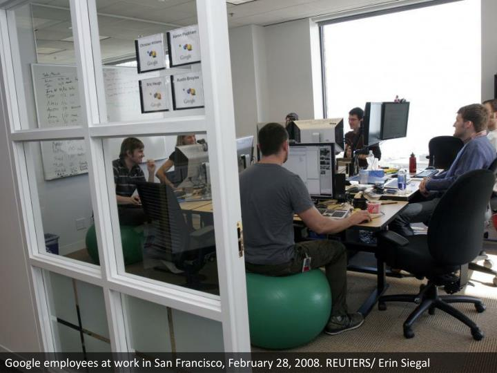 Google employees at work in San Francisco, February 28, 2008. REUTERS/ Erin Siegal