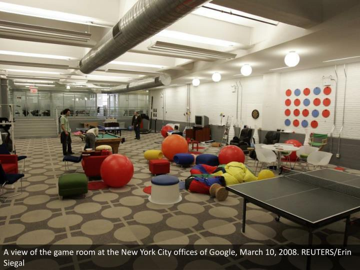 A view of the game room at the New York City offices of Google, March 10, 2008. REUTERS/Erin Siegal