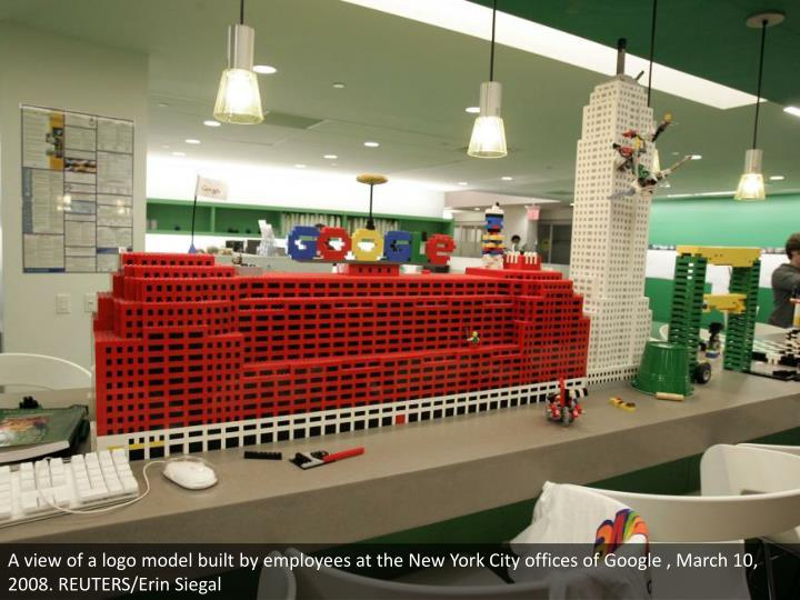 A view of a logo model built by employees at the New York City offices of Google , March 10, 2008. REUTERS/Erin Siegal