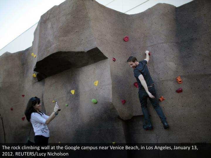 The rock climbing wall at the Google campus near Venice Beach, in Los Angeles, January 13, 2012. REUTERS/Lucy Nicholson