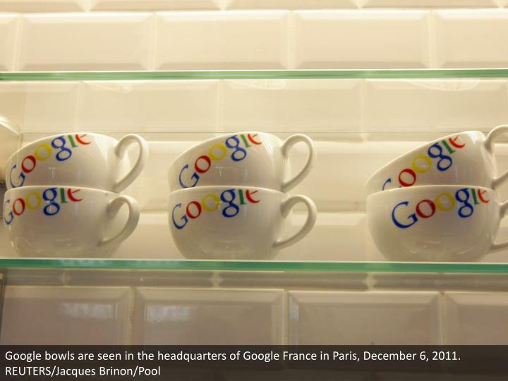 Google bowls are seen in the headquarters of Google France in Paris, December 6, 2011. REUTERS/Jacques Brinon/Pool