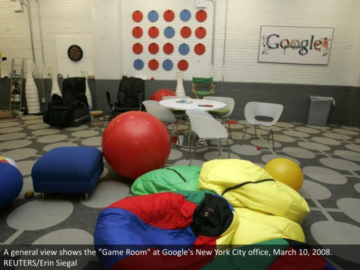 "A general view shows the ""Game Room"" at Google's New York City office, March 10, 2008. REUTERS/Erin Siegal"