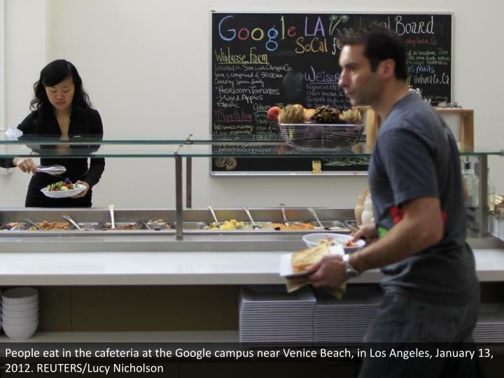 People eat in the cafeteria at the Google campus near Venice Beach, in Los Angeles, January 13, 2012. REUTERS/Lucy Nicholson