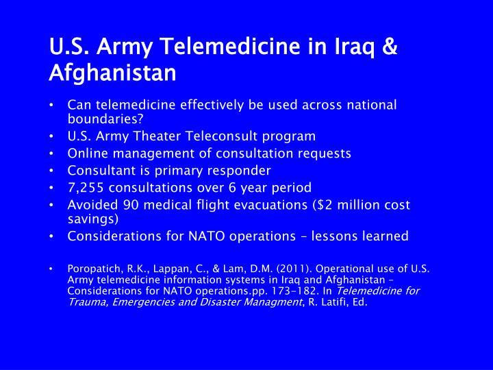 U.S. Army Telemedicine in Iraq & Afghanistan