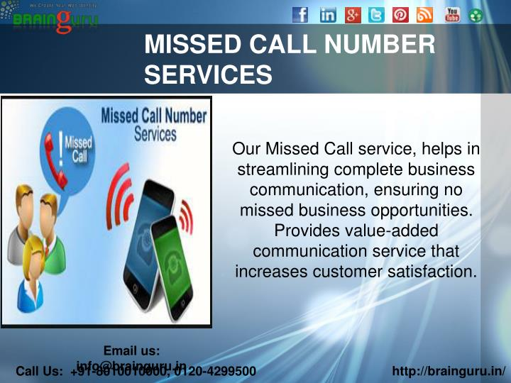MISSED CALL NUMBER SERVICES