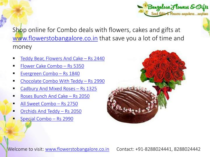 Shop online for Combo deals with flowers, cakes and gifts at