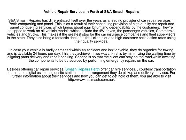 Vehicle Repair Services in Perth at S&A Smash Repairs