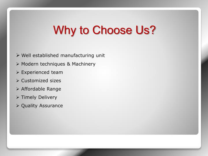 Well established manufacturing unit