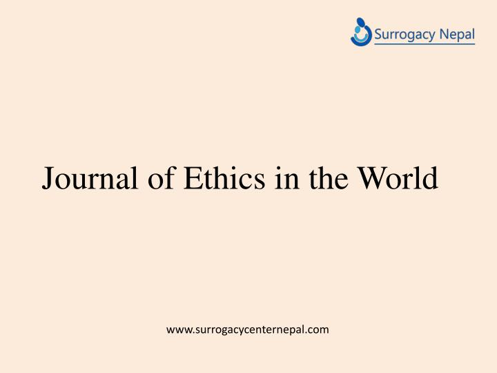 Journal of ethics in the world