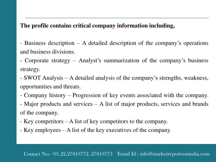 The profile contains critical company information