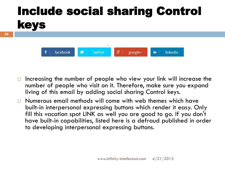 Include social sharing Control keys