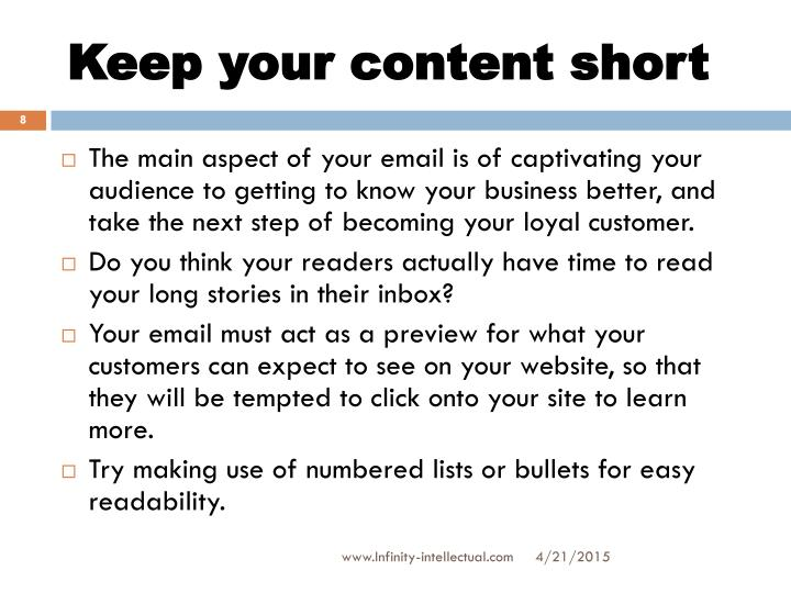 Keep your content short