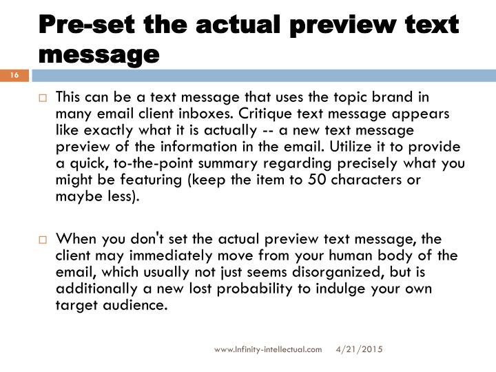 Pre-set the actual preview text message