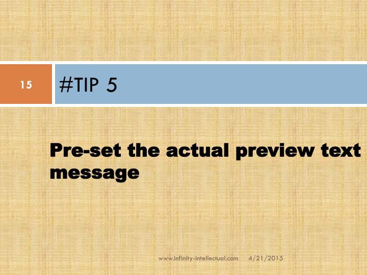 #TIP 5