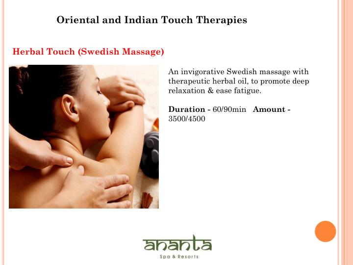 Oriental and Indian Touch Therapies