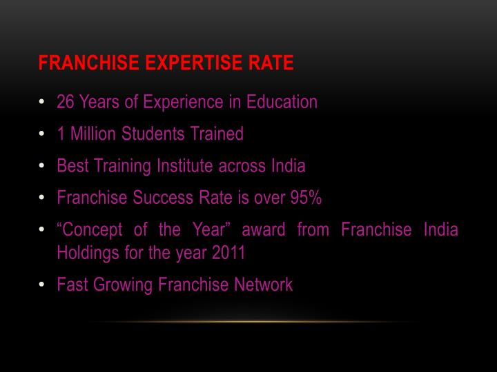 Franchise Expertise Rate