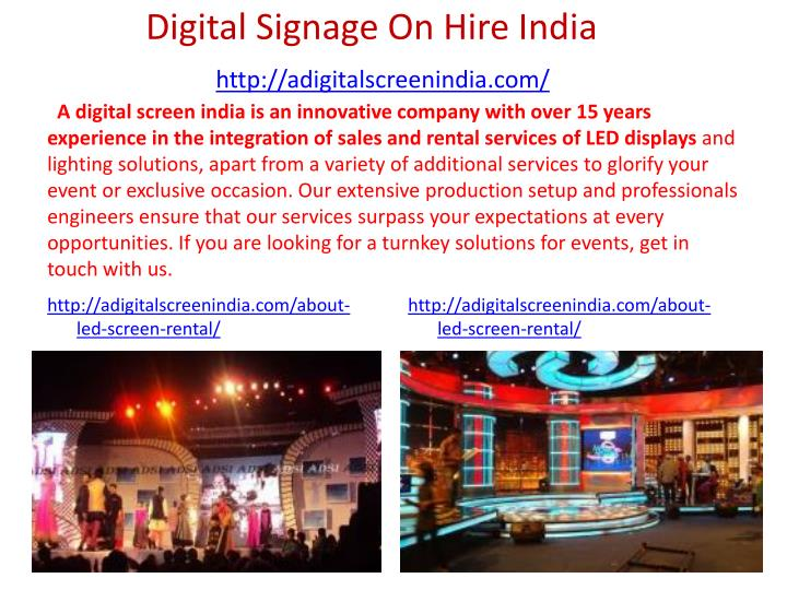 Digital Signage On Hire India