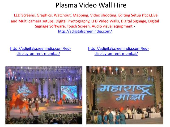 Plasma Video Wall Hire