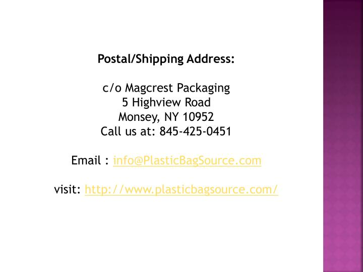 Postal/Shipping Address: