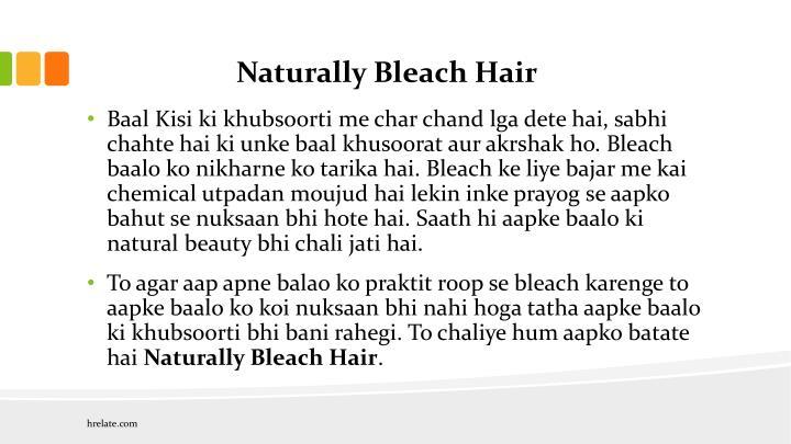 Naturally Bleach Hair