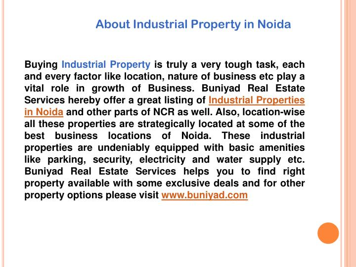 About Industrial Property in Noid