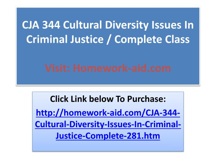 CJA 344 Cultural Diversity Issues In Criminal Justice / Complete Class