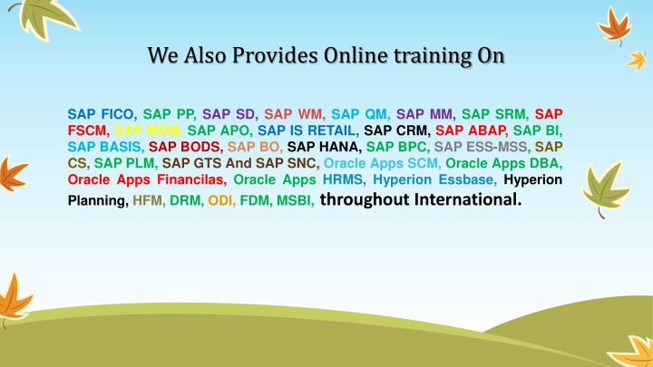 We also provides online training on