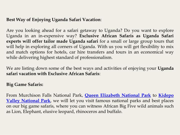 Best Way of Enjoying Uganda Safari Vacation