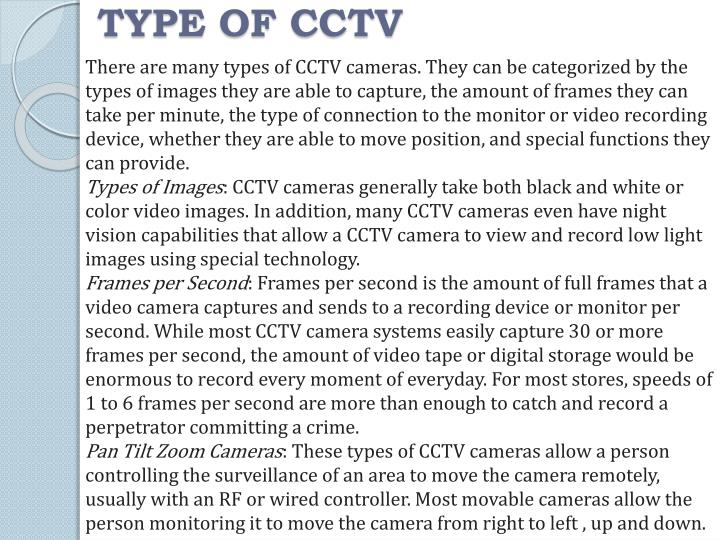 TYPE OF CCTV