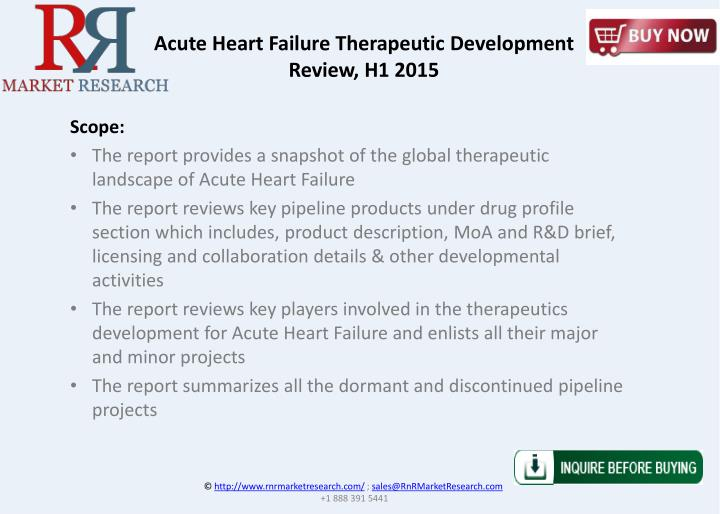 Acute Heart Failure Therapeutic Development Review, H1 2015