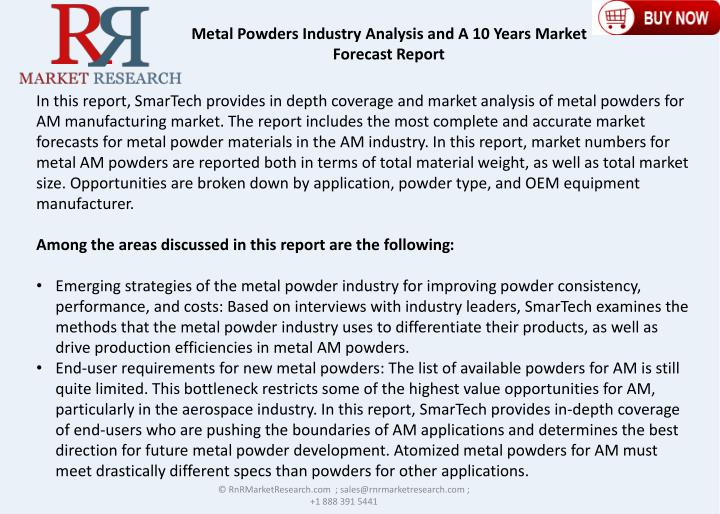 Metal Powders Industry Analysis and A 10 Years Market Forecast Report
