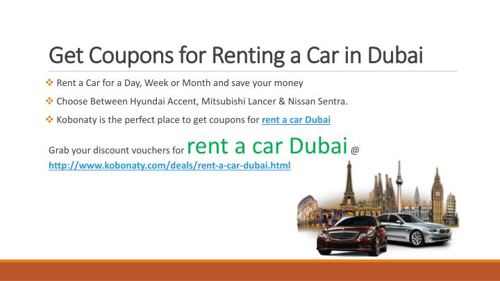Get coupons for renting a car in dubai