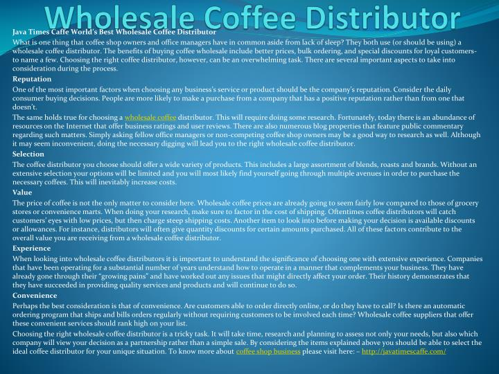 Java times caffe world s best wholesale coffee distributor