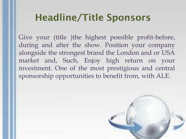 Headline/Title Sponsors