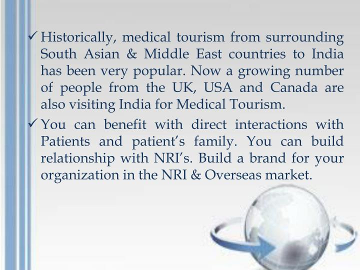 Historically, medical tourism from surrounding South Asian & Middle East countries to India has been very popular. Now a growing number of people from the UK, USA and Canada are also visiting India for Medical Tourism.
