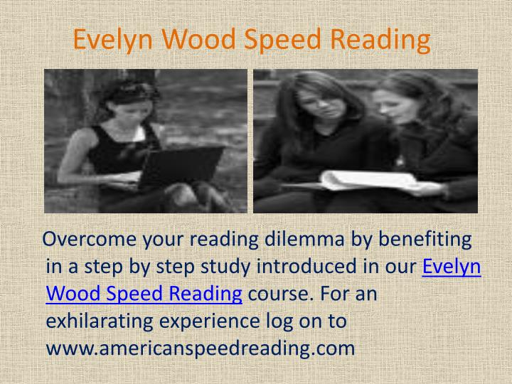 Evelyn wood speed reading