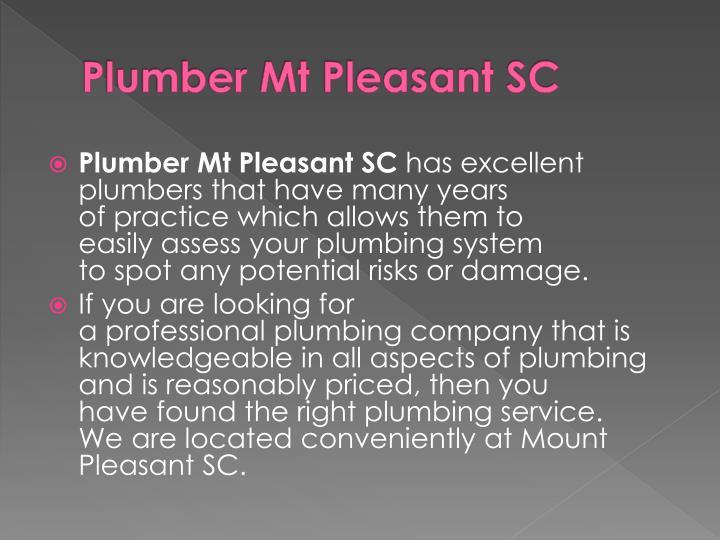 Plumber Mt Pleasant SC