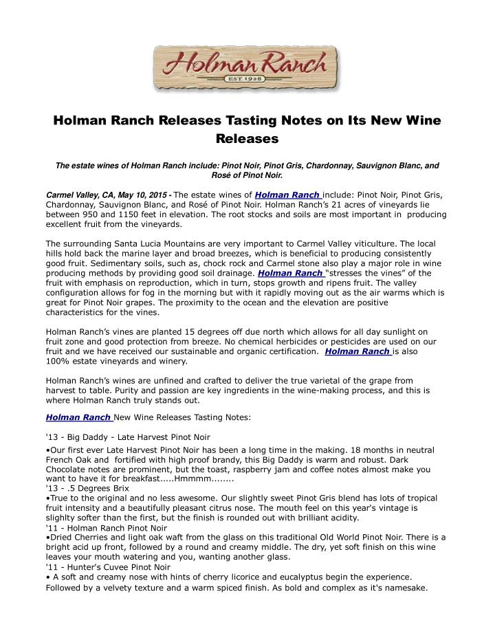 Holman ranch releases tasting notes on its new wine releases