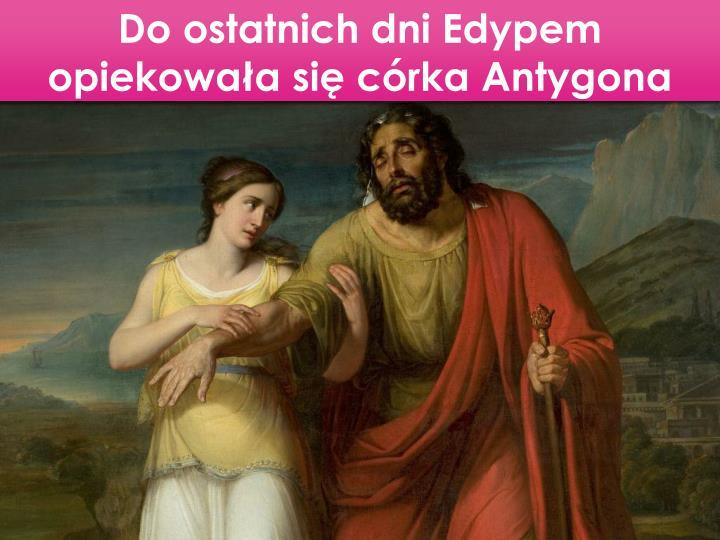 Do ostatnich dni Edypem opiekowaa si crka Antygona