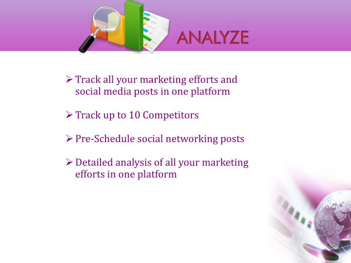 Track all your marketing efforts and social media posts in one platform