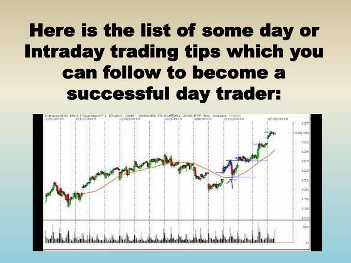 Here is the list of some day or Intraday trading tips which you can follow to become a successful day trader: