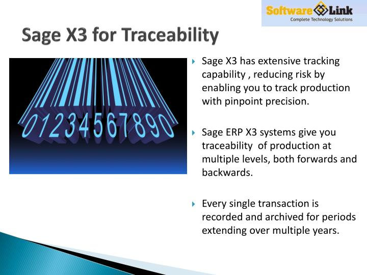 Sage X3 for Traceability