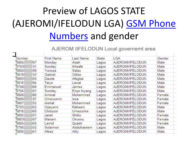 Preview of lagos state ajeromi ifelodun lga gsm phone numbers and gender