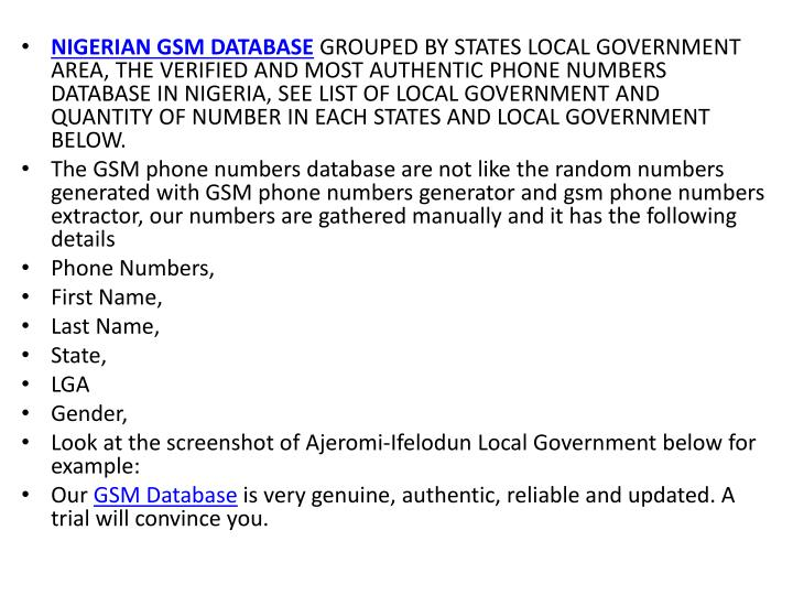 NIGERIAN GSM DATABASE