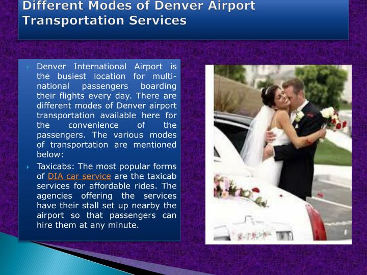 Different modes of denver airport transportation services