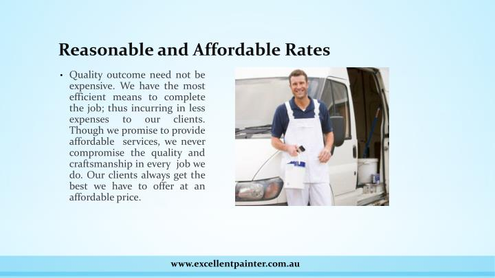 Reasonable and Affordable Rates