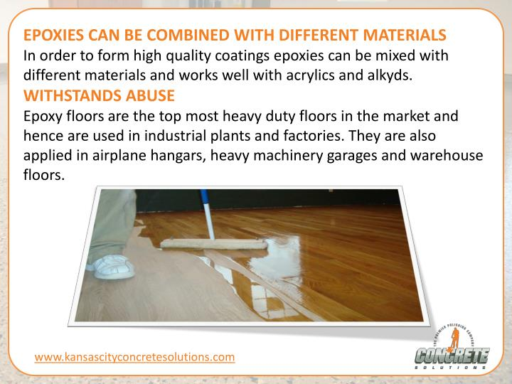 EPOXIES CAN BE COMBINED WITH DIFFERENT MATERIALS